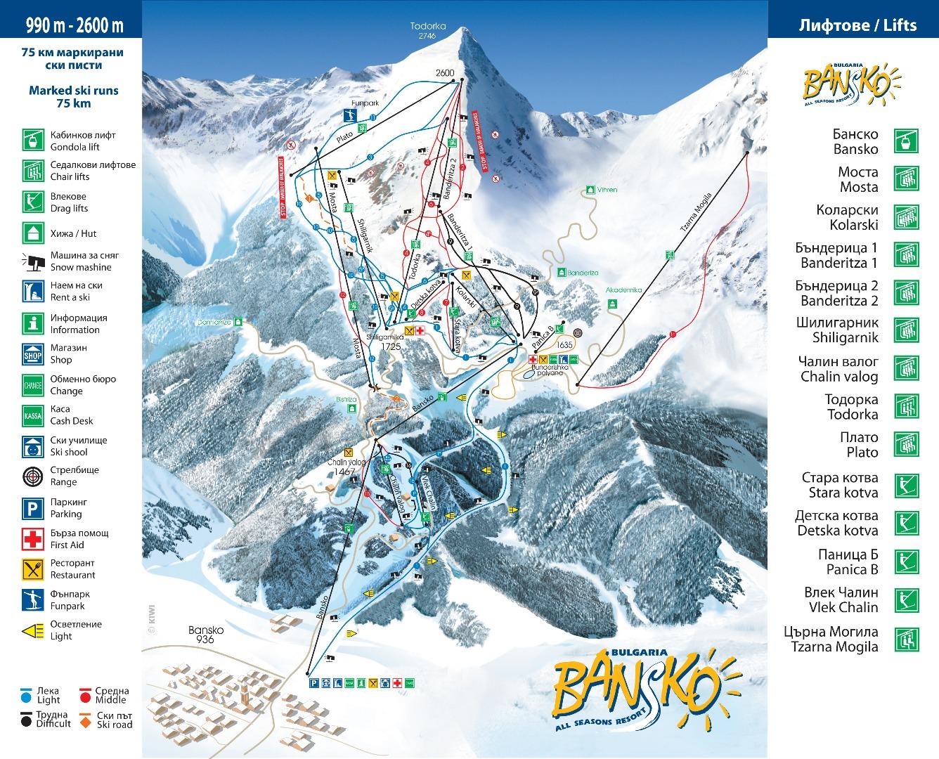 מפה של אתר סקי בבנסקו